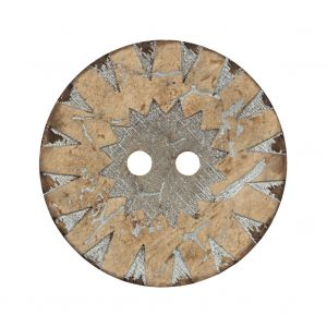 Italian Beige and Silver Carved Coconut Button - 48L/30mm