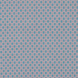 Pale Blush and River Blue Floral Printed Cotton Voile