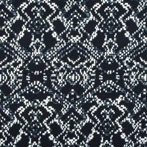 Black and Winter White Abstract Printed Stretch Cotton Sateen