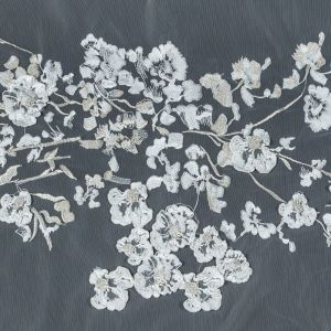 Metallic White and Pale Gold 3D Floral Embroidered Lace on a White Netting