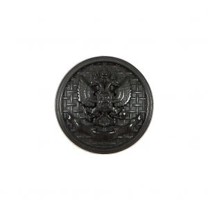 Italian Black Button with Double-Headed Eagle Emblem - 32L/20mm