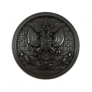 Italian Black Button with Double-Headed Eagle Emblem - 44L/28mm