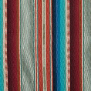 Orange and Turquoise Barcode Striped Cotton Twill