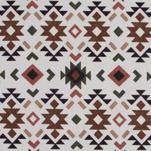 Brown and Green Geometric Printed Brushed Canvas