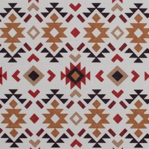 Red and Mustard Geometric Printed Brushed Canvas