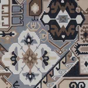 Beige and Gray Aztec Printed Brushed Canvas