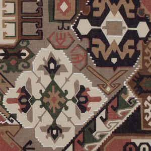 Brown and Green Aztec Printed Brushed Canvas
