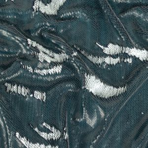 Two-Tone Matte Steel Shards and Lacquer Paillette Sequins on Navy Rayon Stretch Jersey Backing
