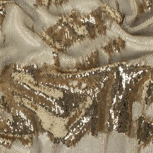 Two-Tone Spumante and Ivory Paillette Sequins on Tofu Rayon Stretch Jersey Backing