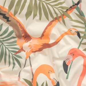 European Ivory, Shell Coral and Burnt Coral Flamingo Printed Cotton Poplin