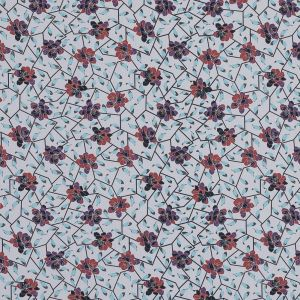 European Red and Angel Blue Floral and Feathered Cotton Poplin