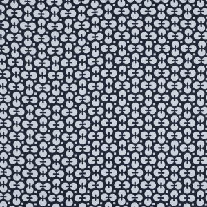 Navy and White Geometric Combed Cotton Sateen