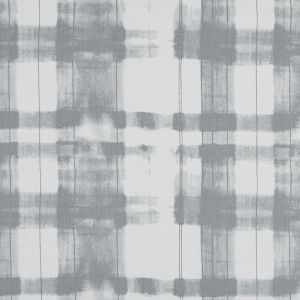Gray and White Painterly Plaid Printed Cotton Crepe