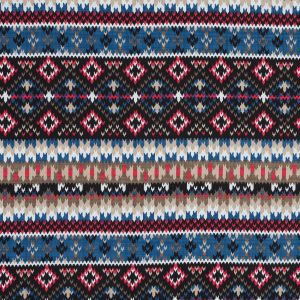 Blue, Red and Beige Geometric Cotton and Viscose Poplin