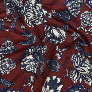 Red, Whisper White and Moonlit Ocean Floral Cotton Sateen