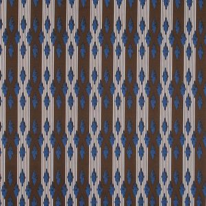 Brown and Blue Geometric Stretch Cotton Sateen