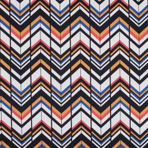 Yellow, Red and Blue Chevron Stretch Cotton Sateen