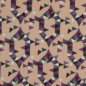 Beige, Magenta and Forest Geometric Stretch Cotton Sateen
