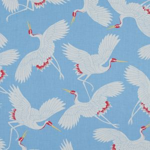 Light Blue and White Crane Printed Cotton Voile