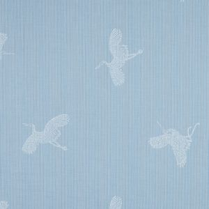 Light Blue and White Striped Cotton Poplin with Cranes