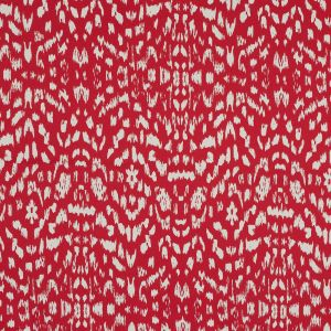 Red Abstract Stretch Cotton Twill