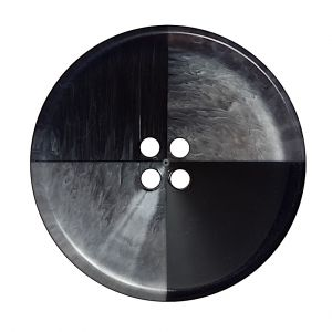 Italian Black and Clear Coconut 4-Hole Button - 54L/34mm