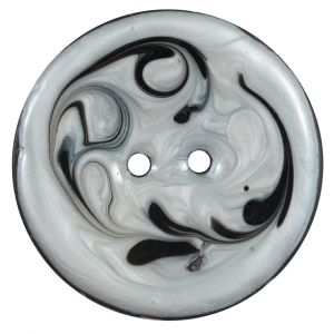 Italian Black and Ivory Swirl 2-Hole Button - 64L/40.5mm