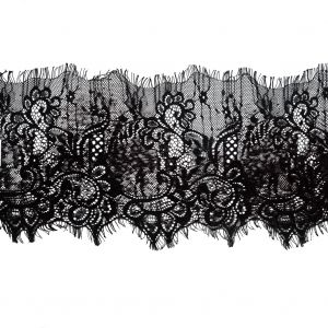 Italian Black and Brown Flocked Lace Trim - 8