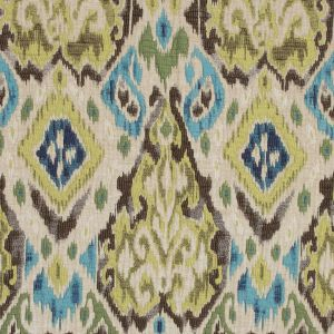 Blue, Green and Beige Chenille Ikat Brocade