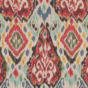 Red, Blue and Beige Chenille Ikat Brocade