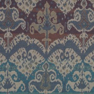 Blue and Beige Tribal Damask Wool Woven