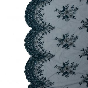 Teal and Marine Blue Beaded Floral Embroidered Lace
