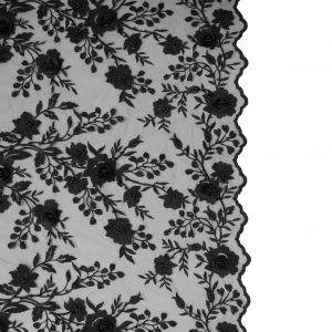 Black Beaded 3D Floral Embroidered Lace