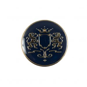 Italian Navy and Gold Metal Crest Shank Back Button - 36L/23mm