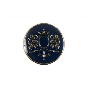 Italian Navy and Gold Metal Crest Shank Back Button - 32L/20mm