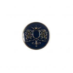Italian Navy and Gold Metal Crest Shank Back Button - 24L/15mm