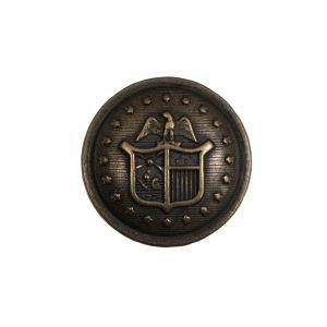 Italian Old Gold Military Shank Back Button - 36L/23mm