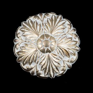 Italian White and Gold Floral Metal Shank Back Button - 44L/28mm