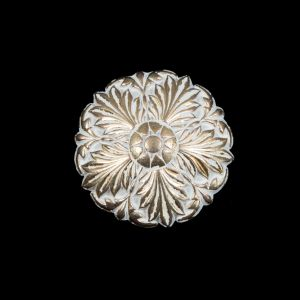 Italian White and Gold Floral Metal Shank Back Button - 36L/23mm