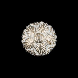 Italian White and Gold Floral Metal Shank Back Button - 32L/20mm