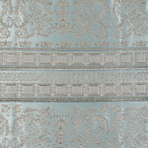 Pale Blue and Gold Luxury Classical Metallic Brocade