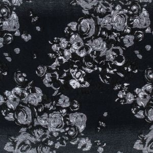 Black and Metallic Silver Luxury Floral Burnout Brocade