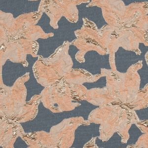 Peach and Metallic Gold Luxury Floral Burnout Brocade