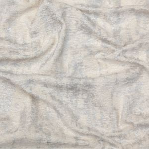Cream Polyester Chenille with Metallic Silver Foil