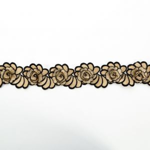 Italian Metallic Gold and Black 3D Embroidered Flower Trim - 3