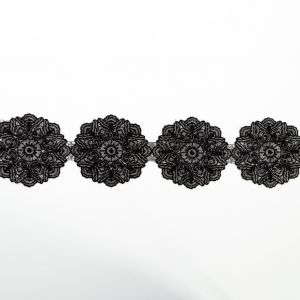 Italian Metallic Silver and Black Embroidered Medallion Lace Trimming - 4