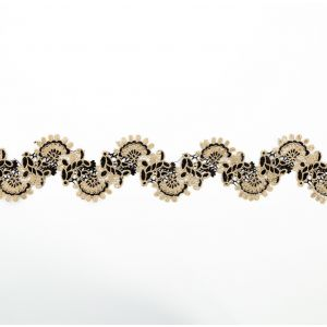 Italian Metallic Gold and Black Scalloped Lace Trimming - 4