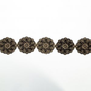 Italian Metallic Gold and Black Embroidered Medallion Lace Trimming - 4