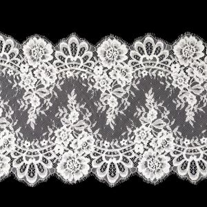 White Floral Corded Lace with Scalloped Eyelash Edges - 14.75