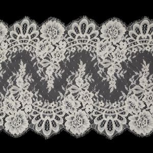Ivory Floral Corded Lace with Scalloped Eyelash Edges - 14